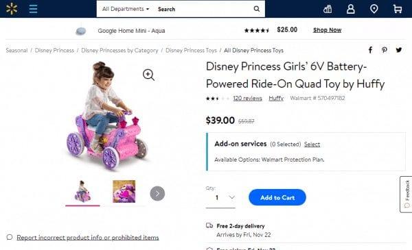 Disney Princess Battery-Powered Ride-On Quad Toy – Walmart Rollback
