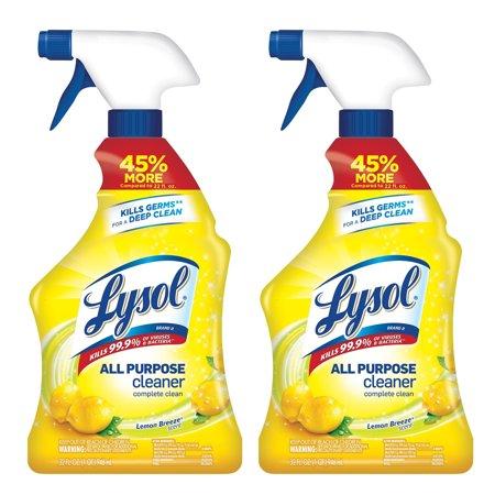 Lysol All Purpose Cleaner Spray, Lemon Breeze, Kills Germs (2X32oz)