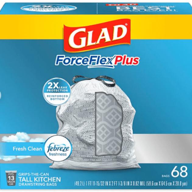 Screenshot 2021 01 01 Glad® Low Density Trash Bags ForceFlex™ w Febreze™ Drawstring 13 Gallon 68 Box at Staples