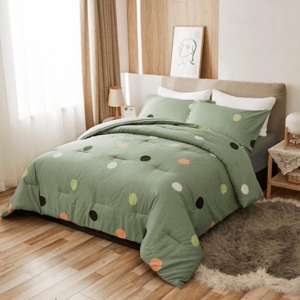 Screenshot 2021 01 24 Peach Leaf Super Soft 100 Cotton 3 Piece Comforter Set with Shams Full Queen 400 GSM Geometric Pa...
